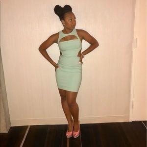 Mint color, Cutout mini dress